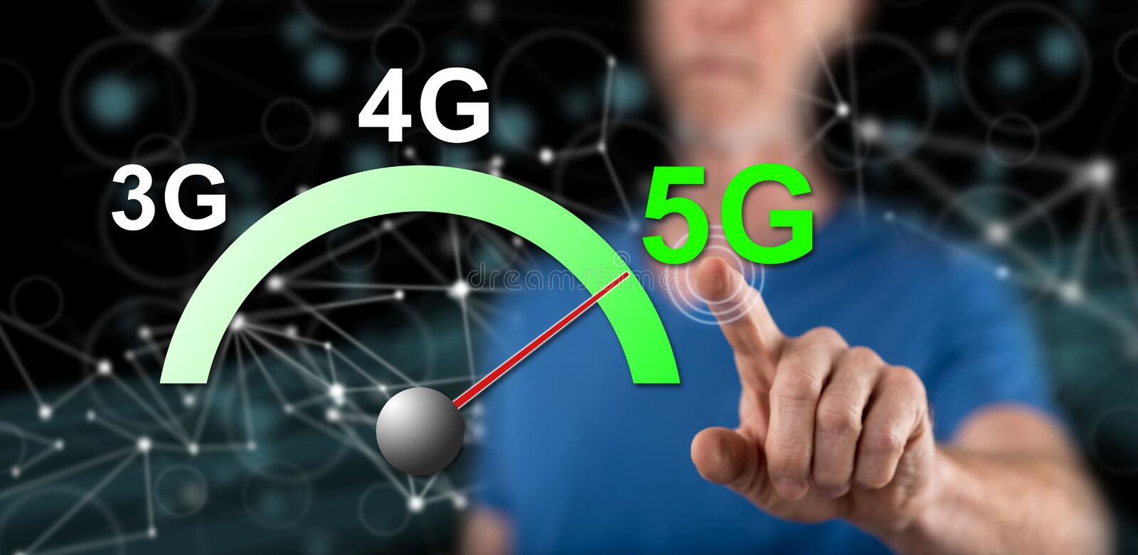 Man touching a 5g concept royalty free stock image
