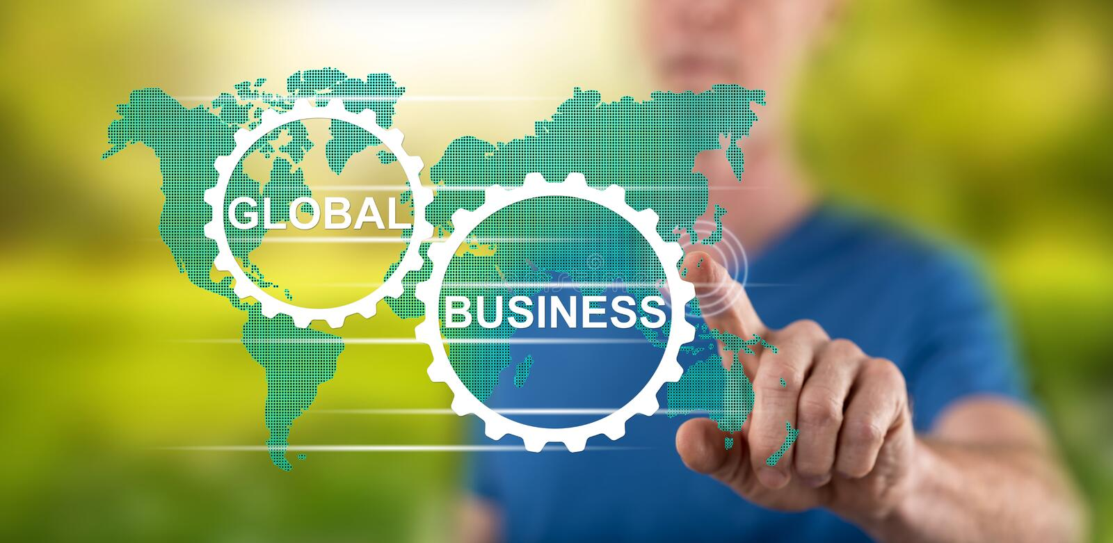 Man touching a global business concept. On a touch screen with his finger royalty free stock images
