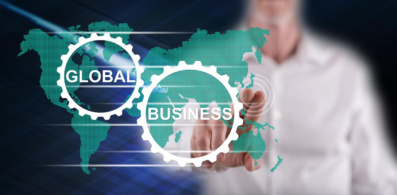 Man touching a global business concept stock photos