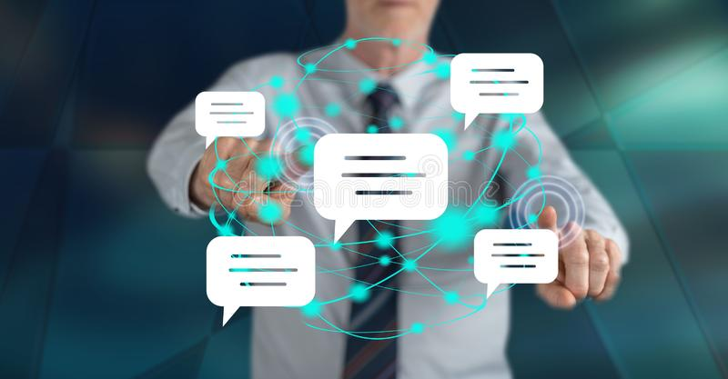 Man touching a global communication concept stock images