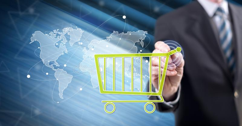 Man touching a global e-commerce concept royalty free stock image