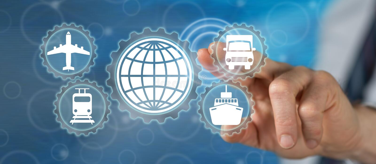 Man touching global transportation concept. On a touch screen with his finger royalty free stock photo
