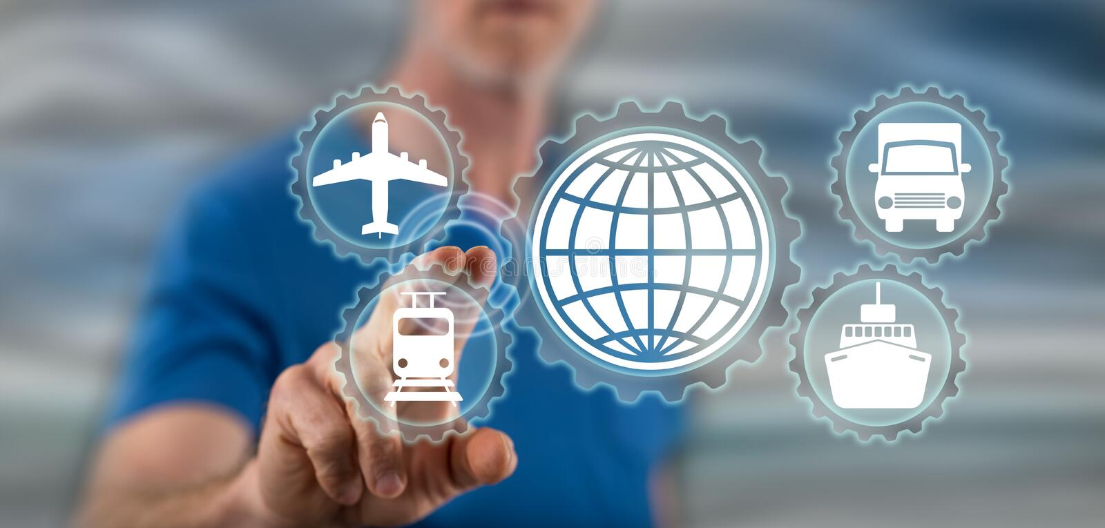Man touching global transportation concept. On a touch screen with his finger stock photo