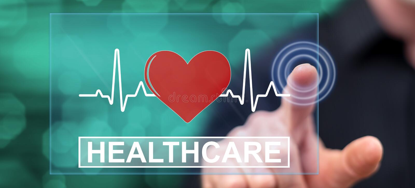 Man touching a healthcare concept. On a touch screen with his finger royalty free stock photography