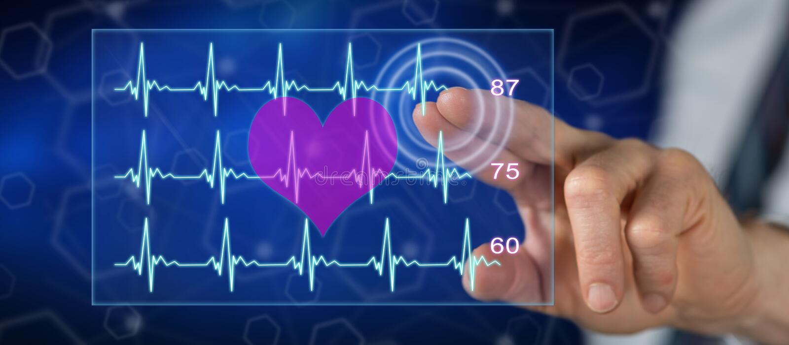 Man touching a heart beats graph concept royalty free illustration