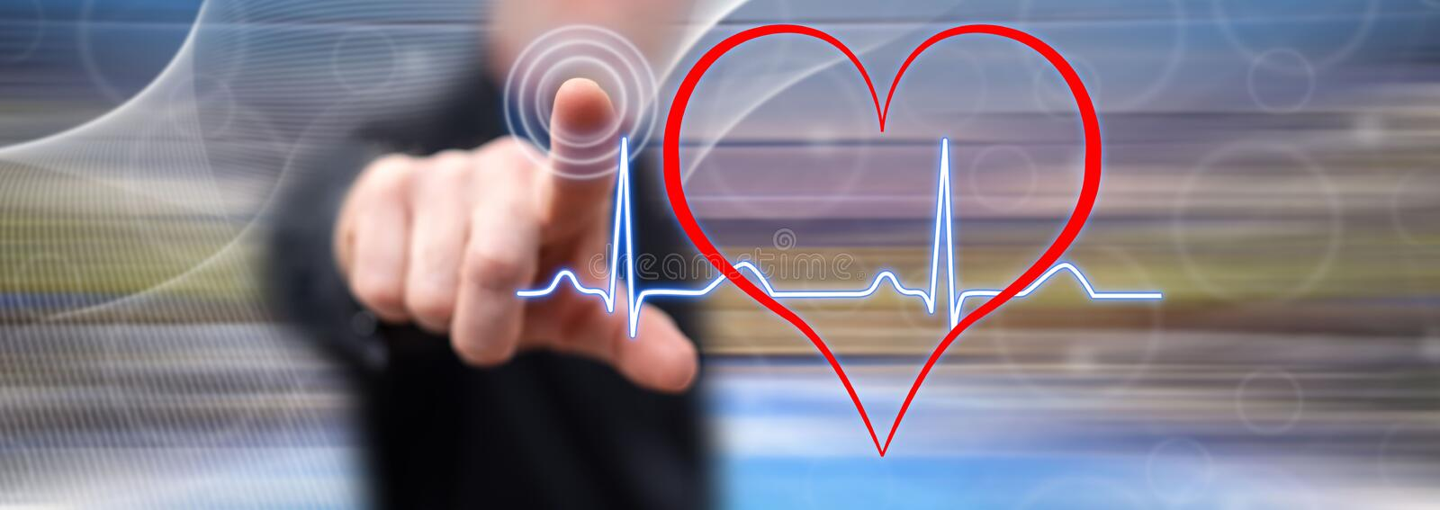 Man touching a heart beats graph stock illustration