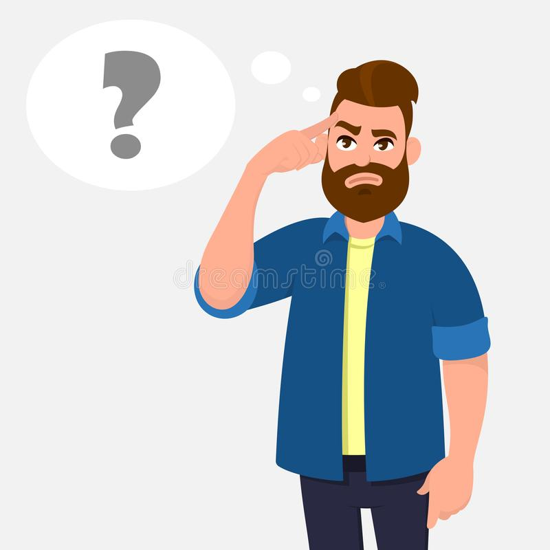 Man touching his temples and questioning. Man holding finger on head and in the thought bubble question mark appearing. royalty free illustration