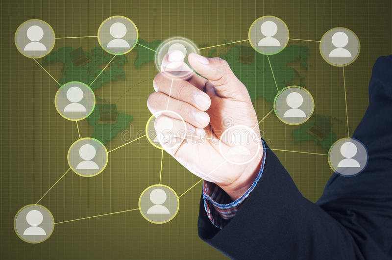 man touching icon of social network royalty free illustration
