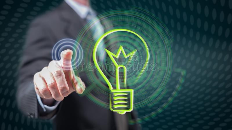 Man touching an idea concept. On a touch screen with his fingers royalty free stock photos