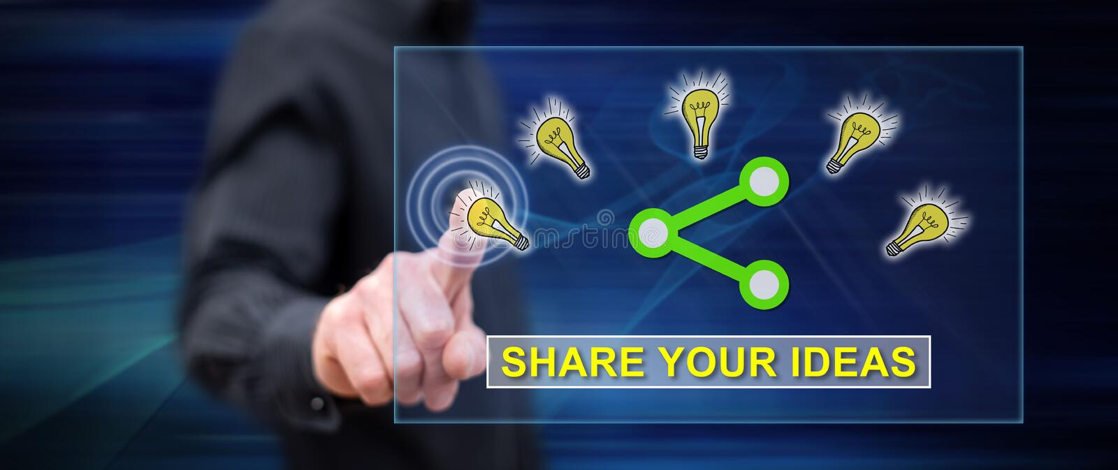 Man touching an ideas sharing concept stock image