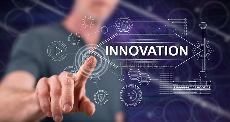 Man touching an innovation concept stock images