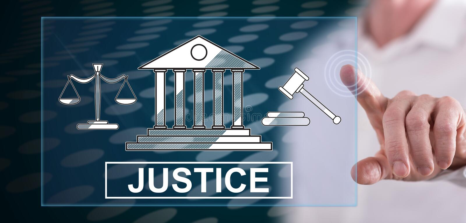 Man touching a justice concept stock photography