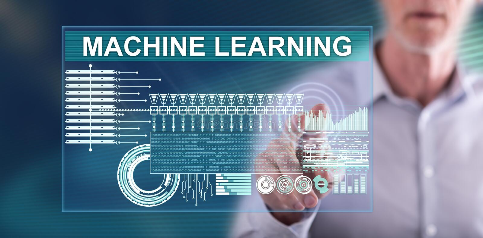 Man touching a machine learning concept. On a touch screen with his finger royalty free stock images