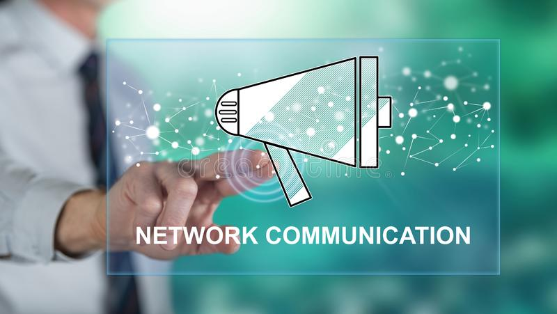 Man touching a network communication concept stock image