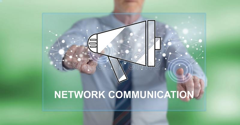 Man touching a network communication concept royalty free stock photo