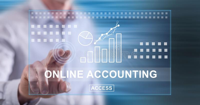 Man touching an online accounting concept stock photography
