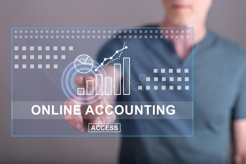 Man touching an online accounting concept on a touch screen stock photo