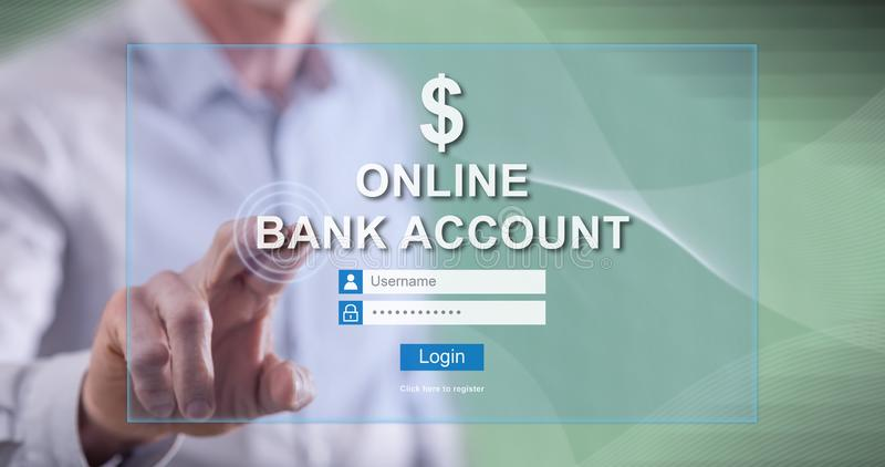 Man touching an online bank account website. On a touch screen with his finger royalty free stock photos