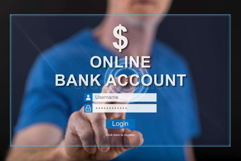 Man touching an online bank account website on a touch screen. With his finger royalty free stock photography