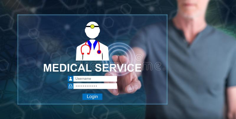 Man touching an online medical service concept royalty free stock photography