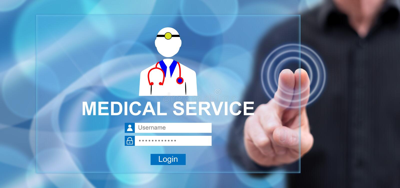 Man touching an online medical service concept royalty free stock images