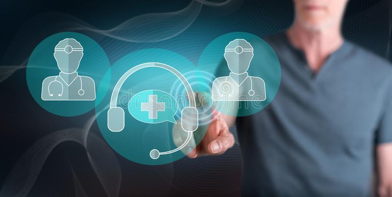 Man touching an online medical support concept royalty free stock photography