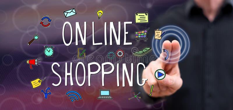 Man touching an online shopping concept stock photos