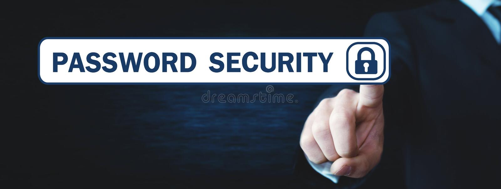 Man touching Password Security button. royalty free stock photos