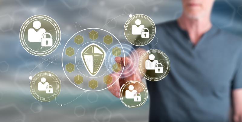 Man touching a personal data security concept. On a touch screen with his finger royalty free stock image