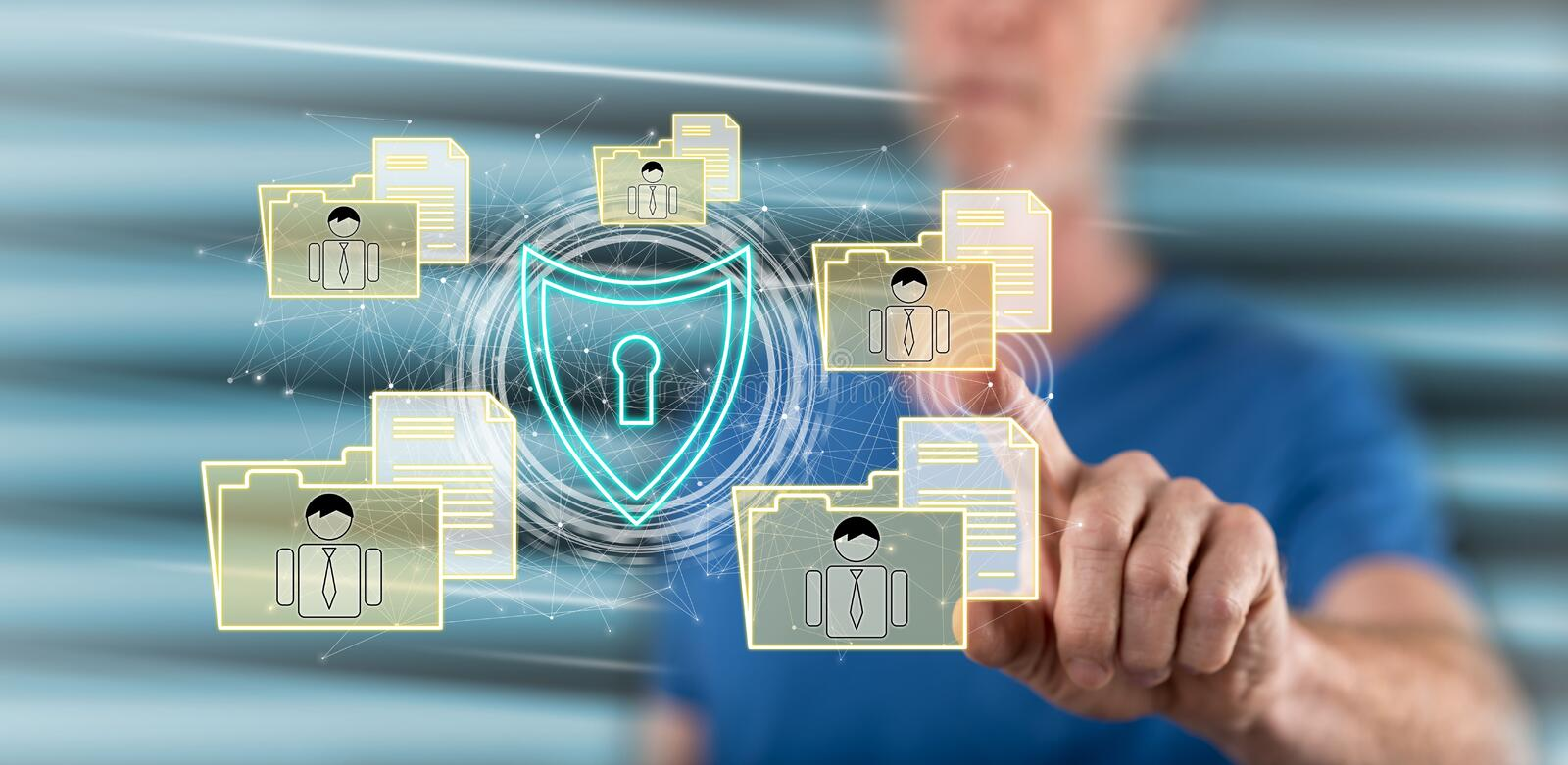 Man touching a personal data security concept. On a touch screen with his finger stock photography