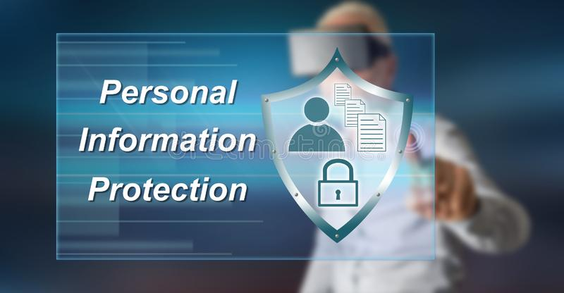 Man touching a personal information protection concept royalty free stock photos