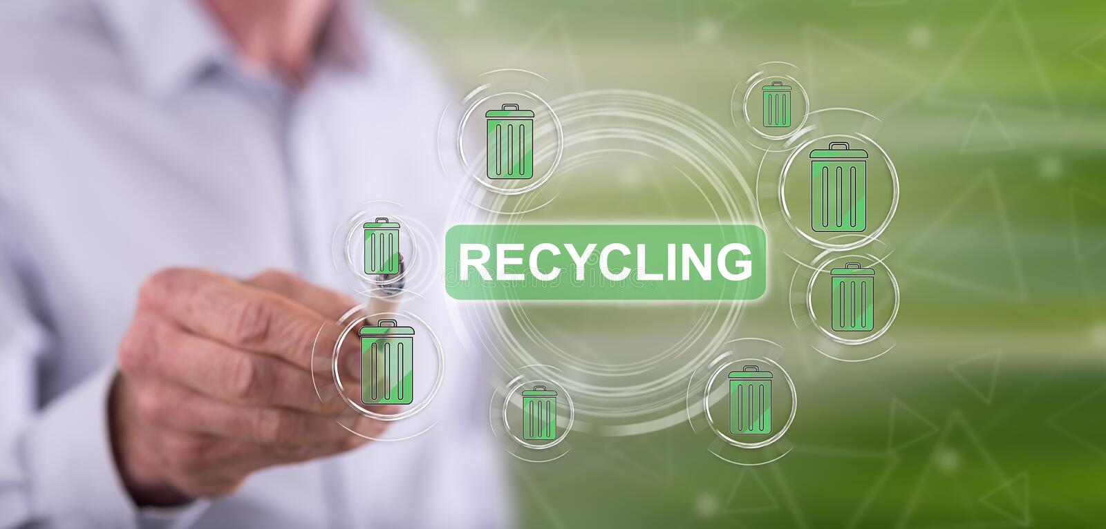 Man touching a recycling concept royalty free stock photo