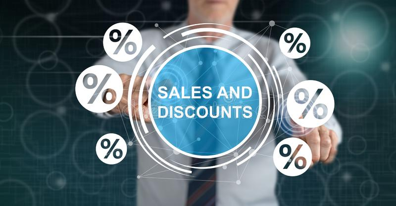 Man touching a sales and discounts concept royalty free stock photography