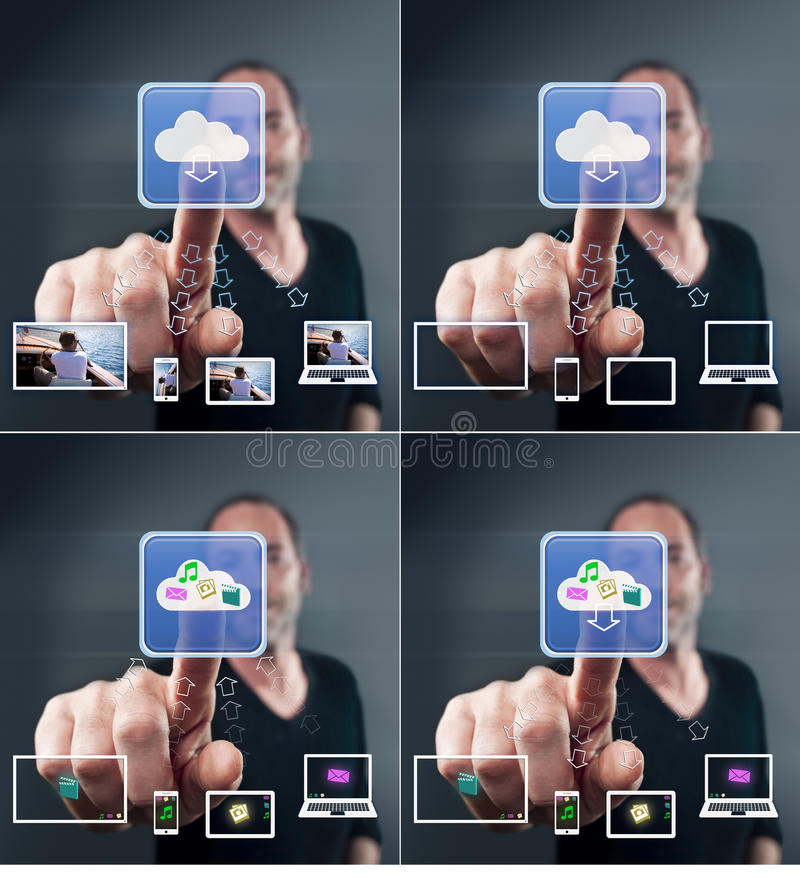 Download Man touching screen icons stock photo. Image of button - 22711666