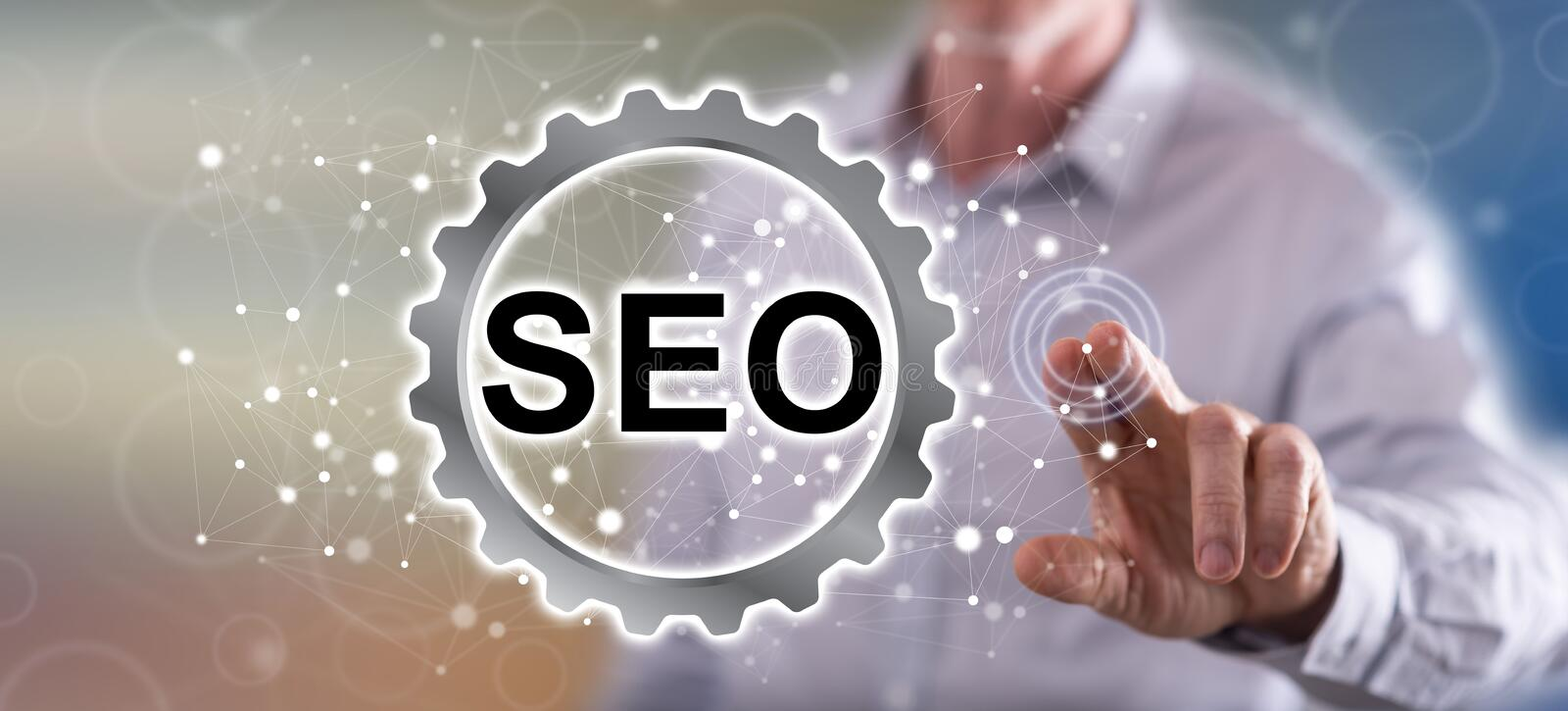 Man touching a seo concept royalty free stock photo