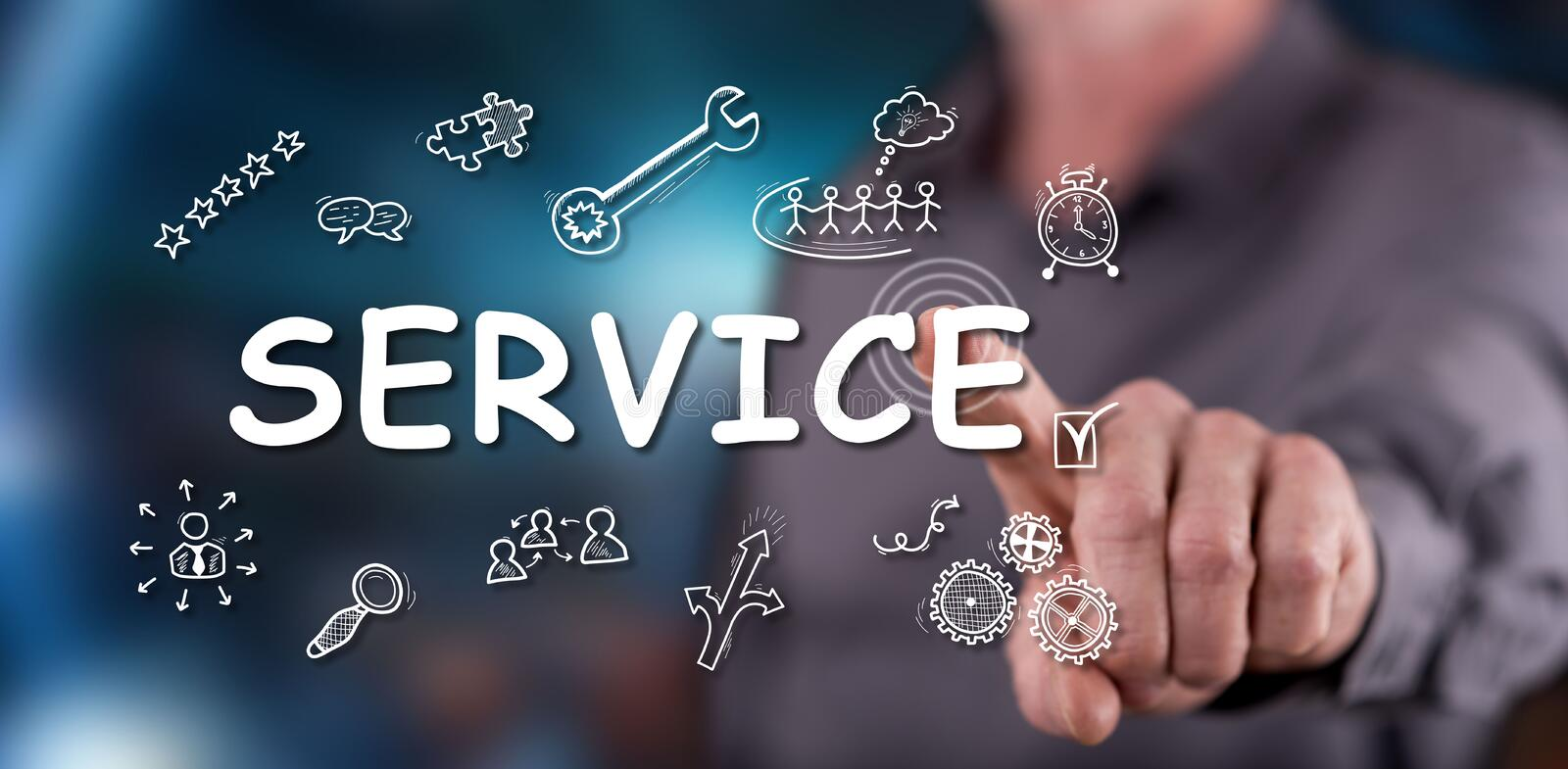 Man touching a service concept stock photo