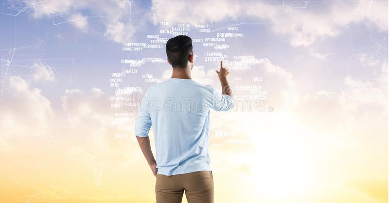 Man touching sky word interface royalty free stock photography