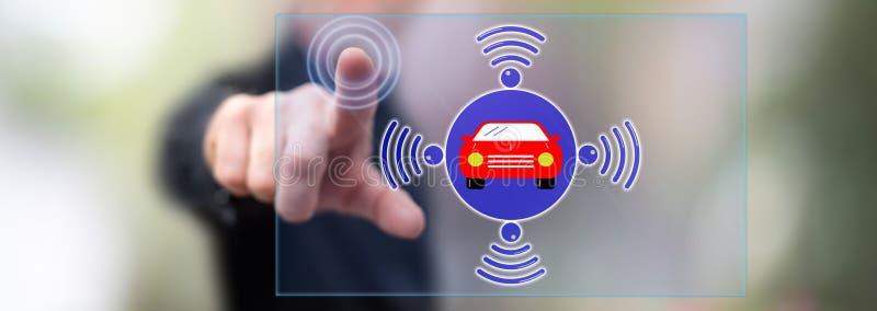 Man touching a smart car concept royalty free stock photos