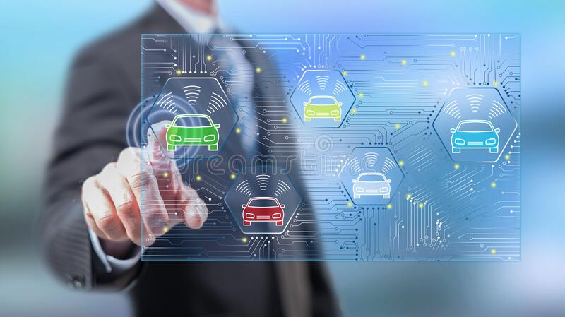 Man touching a smart car concept. On a touch screen with his fingers royalty free illustration