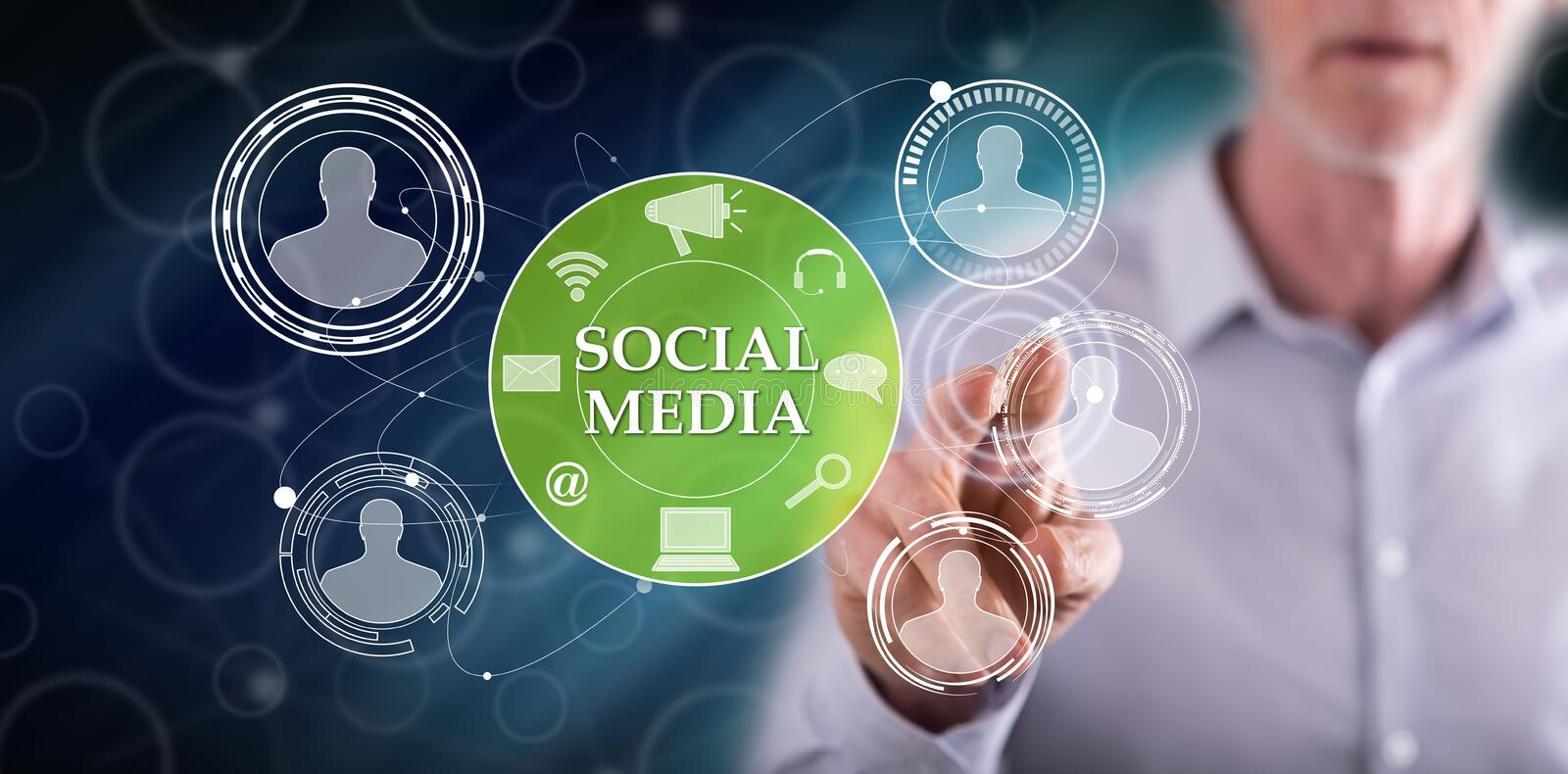 Man touching a social media concept stock photography