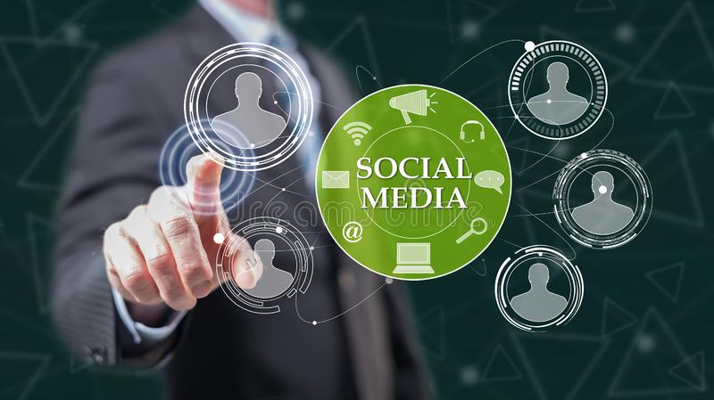 Man touching a social media concept stock photo