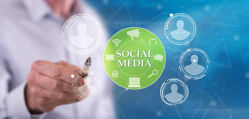 Man touching a social media concept vector illustration