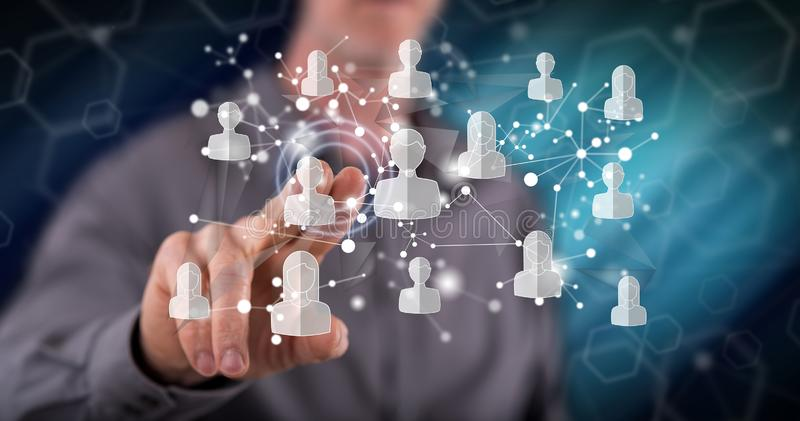 Man touching a social media network concept stock illustration