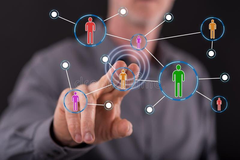 Man touching a social media network stock photo
