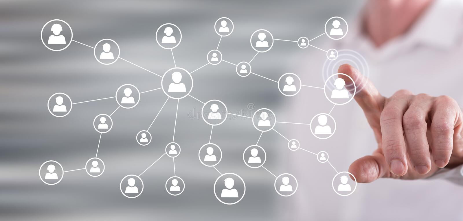 Man touching a social media network stock images