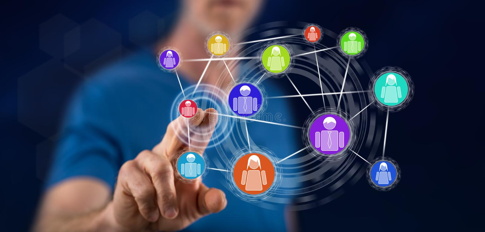 Man touching a social network concept vector illustration