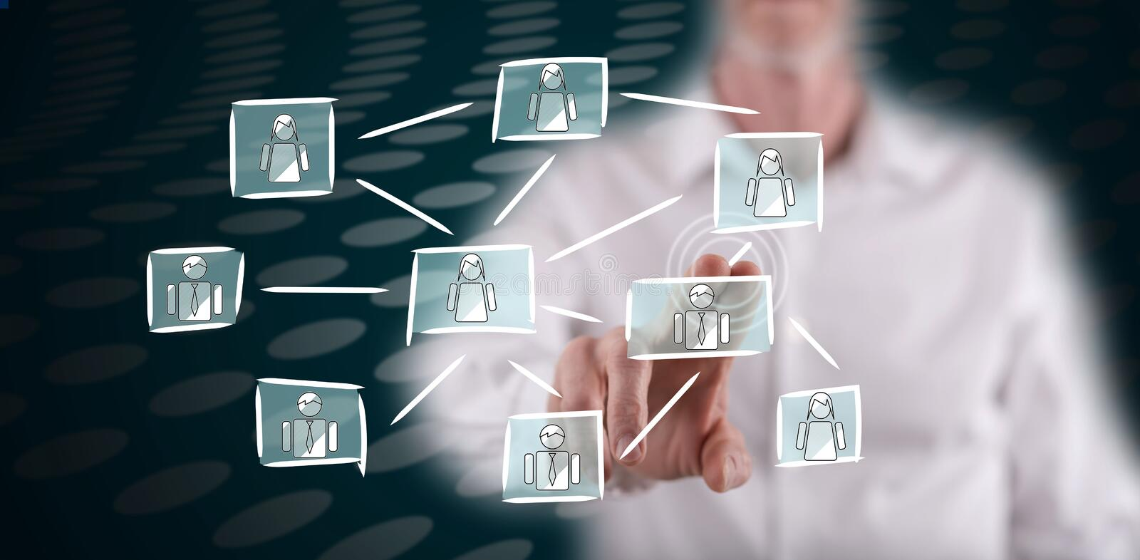 Man touching a social network concept royalty free stock image