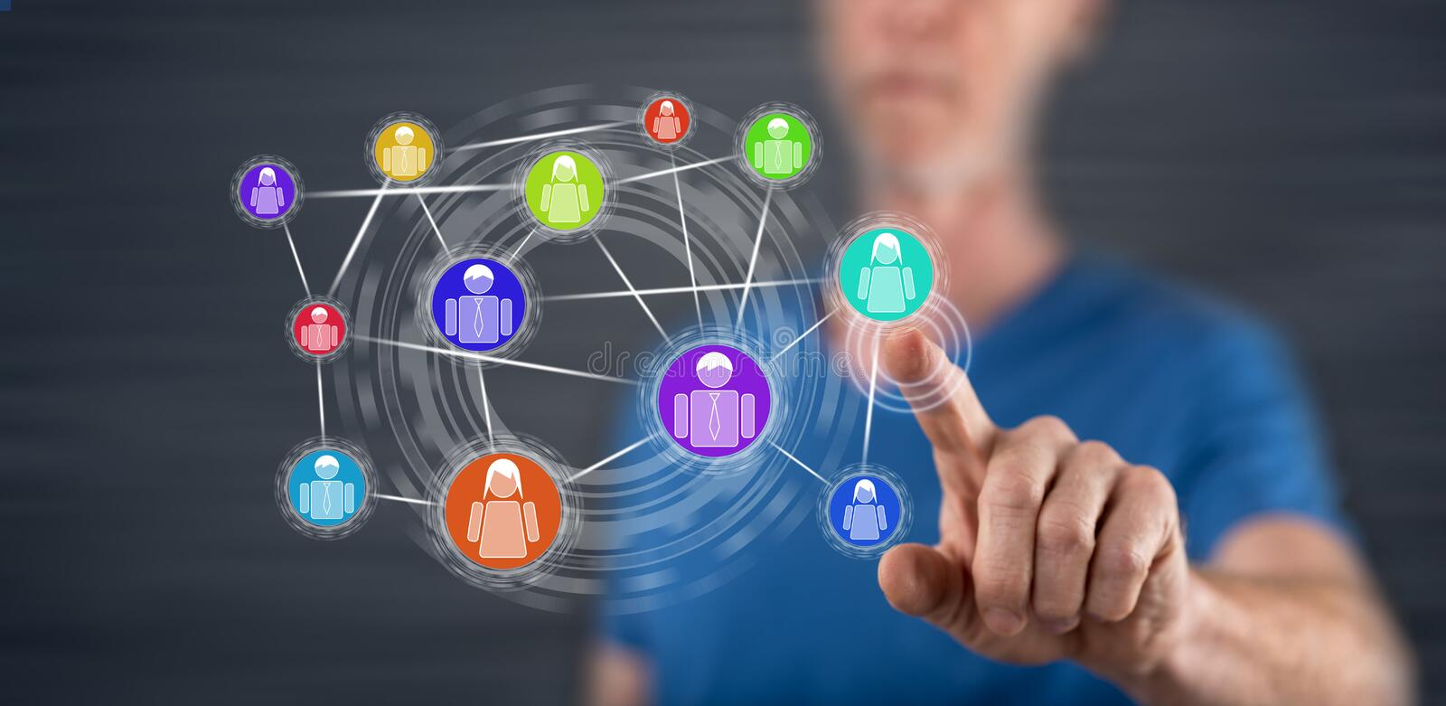 Man touching a social network concept. On a touch screen with his finger stock image