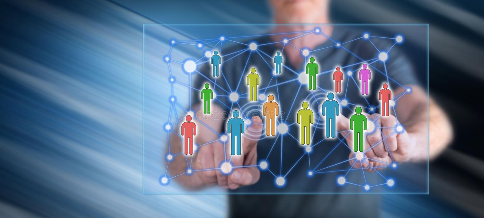 Man touching a social network concept royalty free stock photos