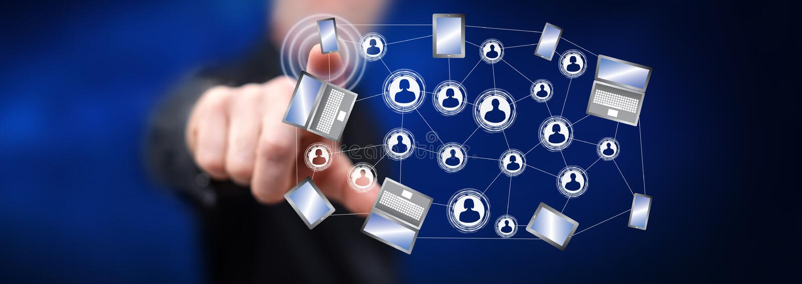 Man touching a social network connection concept. On a touch screen with his finger stock illustration